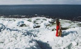 Mujer que presenta en invierno Fotografía de archivo libre de regalías