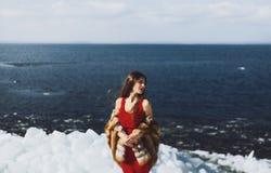 Mujer que presenta en invierno Imágenes de archivo libres de regalías