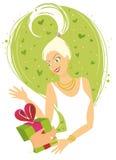 Mujer que recibe el regalo libre illustration