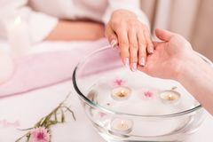 Mujer que recibe el tratamiento del balneario para las manos en bol de vidrio con los pétalos color de rosa Foto de archivo