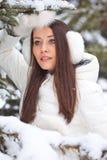 Mujer que recorre en parque del invierno Imagenes de archivo