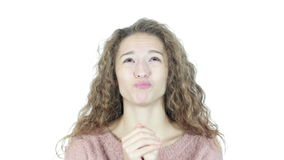 Mujer que ruega, esperando mejor, perdón, fondo blanco, jóvenes, metrajes