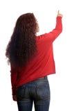 Mujer que señala en el espacio de la copia Imágenes de archivo libres de regalías