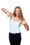Mujer que señala en se Foto de archivo libre de regalías