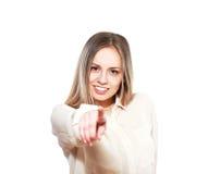 Mujer que señala en usted Foto de archivo libre de regalías