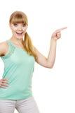 Mujer que señala o que toca con el dedo índice Imagenes de archivo