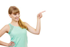 Mujer que señala o que toca con el dedo índice Fotografía de archivo