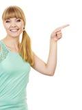 Mujer que señala o que toca con el dedo índice Fotos de archivo libres de regalías