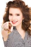 Mujer que señala su dedo Fotografía de archivo libre de regalías