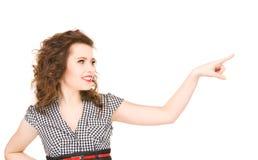 Mujer que señala su dedo Imagen de archivo libre de regalías