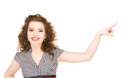 Mujer que señala su finger Foto de archivo libre de regalías