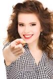 Mujer que señala su finger Imágenes de archivo libres de regalías