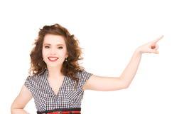 Mujer que señala su finger Foto de archivo