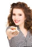 Mujer que señala su finger Fotos de archivo