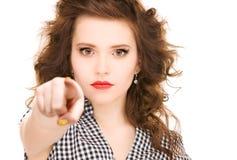 Mujer que señala su finger Imagen de archivo libre de regalías