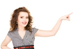 Mujer que señala su finger Fotografía de archivo libre de regalías