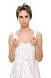 Mujer que señala su finger en usted Imagen de archivo libre de regalías