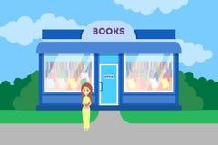 Mujer que se coloca en el edificio de librería libre illustration