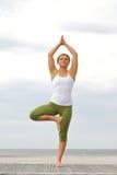 Mujer que se coloca en una pierna en equilibrio actitud de la yoga imágenes de archivo libres de regalías