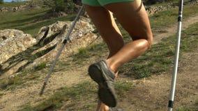 Mujer que se ejecuta en rastro de montaña almacen de video