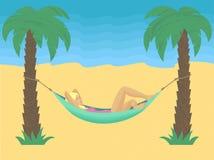 Mujer que se enfría en hamaca en el ejemplo del vector de la playa ilustración del vector