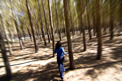 Mujer que se escapa a través de las maderas fotos de archivo
