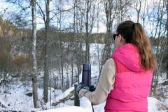 Mujer que se inclina a la cerca nevosa Fotografía de archivo