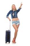 Mujer que se prepara para el viaje largo aislado Imagen de archivo