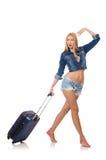 Mujer que se prepara para el viaje largo aislado Fotografía de archivo
