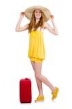 Mujer que se prepara para las vacaciones de verano Imagenes de archivo