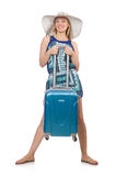 Mujer que se prepara para las vacaciones de verano Foto de archivo