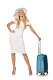 Mujer que se prepara para las vacaciones de verano aisladas Imagen de archivo