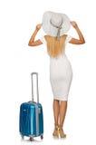 Mujer que se prepara para las vacaciones de verano aisladas Fotografía de archivo libre de regalías