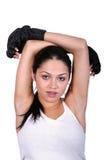 Mujer que se reclina después de entrenamiento Fotografía de archivo