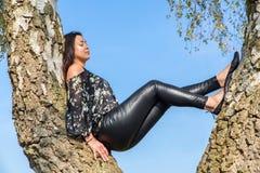 Mujer que se sienta en árbol de abedul con el cielo Imagenes de archivo