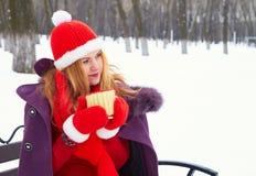 Mujer que se sienta en banco en parque de la nieve del invierno y café o té caliente de consumición fotos de archivo