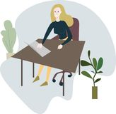 Mujer que se sienta en el escritorio de oficina stock de ilustración