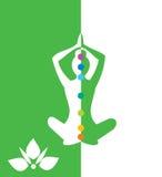 Mujer que se sienta en la posición de la yoga, loto - vector el ejemplo Fotografía de archivo