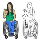 Mujer que se sienta en silla de ruedas con illustratio del vector del gesto de mano Fotos de archivo libres de regalías