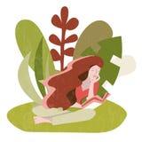 Mujer que se sienta leyendo un libro al aire libre ilustración del vector