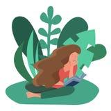 Mujer que se sienta leyendo un libro al aire libre stock de ilustración
