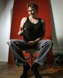 Mujer que señala al uno mismo. Imágenes de archivo libres de regalías