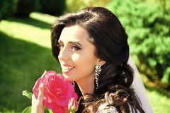 Mujer que sonríe con el vestido y el velo en la rosa del rojo Imagen de archivo