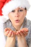 Mujer que sopla un beso Fotos de archivo libres de regalías