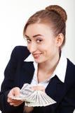 Mujer que sostiene el dinero. Concepto de dinero Imagenes de archivo