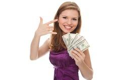 Mujer que sostiene el dinero euro con gesto de manos Fotos de archivo