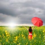 Mujer que sostiene el paraguas rojo en campo de flor y riancloud amarillos Fotografía de archivo libre de regalías