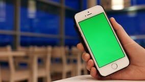 Mujer que sostiene iphone verde de la pantalla con el restaurante borroso almacen de video