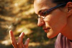 Mujer que sostiene la semilla del cardo Imagen de archivo libre de regalías