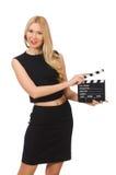 Mujer que sostiene la tablilla de la película Foto de archivo